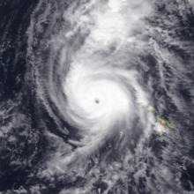 Hurricane Iniki south of Hawai'i on September 11, 1992
