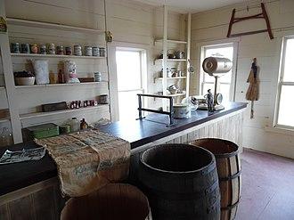 Fort Rock Valley Historical Homestead Museum - Image: Inside Old Fort Rock Store, Oregon