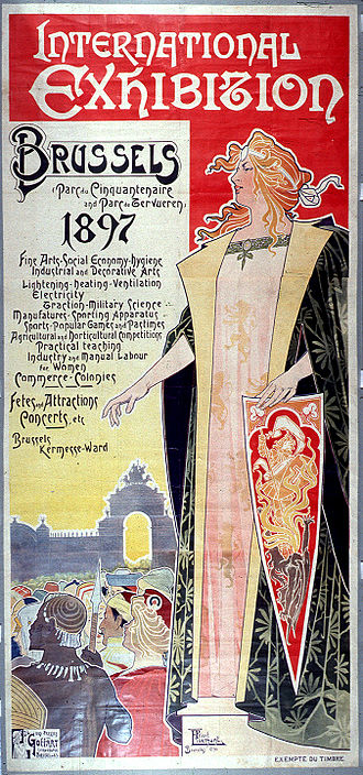 Brussels International Exposition (1897) - Exhibition poster by Art Nouveau artist Henri Privat-Livemont
