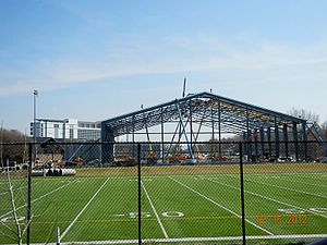 Kinnick Stadium - The indoor practice facility under construction near Kinnick Stadium.