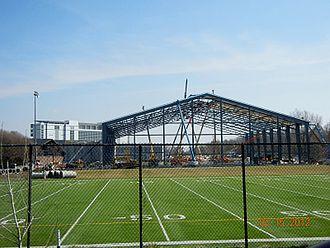 Kinnick Stadium - The indoor practice facility under construction near Kinnick Stadium.
