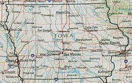 Topographische Karte Iowas