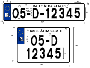 Vehicle registration plates of the Republic of Ireland - Illustration of Irish number plate specifications (1987–2012)
