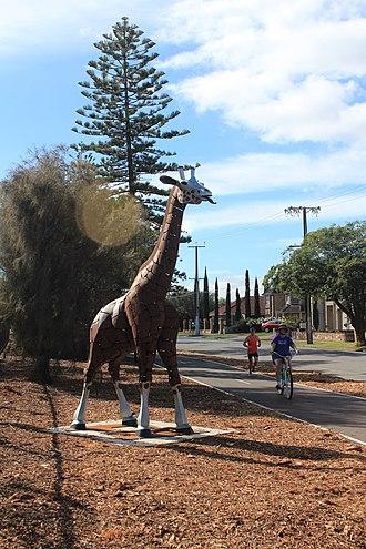 Glenelg East, South Australia - An Iron Sculpture of a Giraffe on the Mike Turtur Bikeway in Glenelg East South Australia