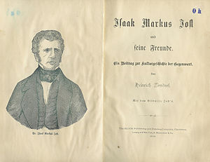 Isaak Markus Jost - Title page of a biography of Isaak Markus Jost by Heinrich Zirndorf