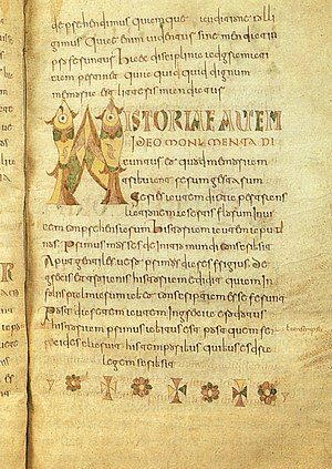 Etymologiae - Page of Etymologiae, Carolingian manuscript (8th century), Brussels, Royal Library of Belgium