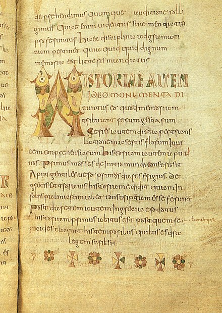 A page of Etymologiae, Carolingian manuscript (8th century), Brussels, Royal Library of Belgium Isidoro di siviglia, etimologie, fine VIII secolo MSII 4856 Bruxelles, Bibliotheque Royale Albert I, 20x31,50, pagina in scrittura onciale carolina.jpg