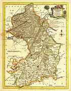 old yellowing map of east Cambridgeshire showing Isle of Ely surrounded by water