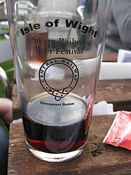Isle of Wight Steam Railway Beer Festival commemorative pint glass (3499919793).jpg