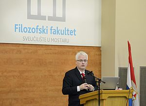Faculty of Humanities, University of Mostar - Croatian president Ivo Josipović gives a lecture at the Faculty of Humanities