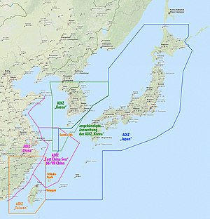 Air Defense Identification Zone - Air Defense Identification Zones over Japan (blue), South Korea (green), and China (pink)