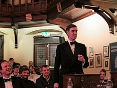 7b2e522f898a Jacob Rees-Mogg in black tie debating at The Cambridge Union.