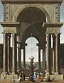 Jacobus Ferdinandus Saey - A Classical Portico with an Elegant Company Gathered by a Fountain.jpg