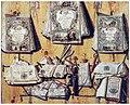 Jacobus Plasschaert - Trompe l'oeil of documents and an almanac hung on a wooden partition.jpg