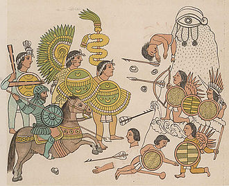 Aztec - Cristóbal de Olid leads Spanish soldiers with Tlaxcalan allies in the conquest of Jalisco, 1522
