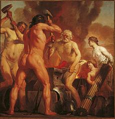 Venus en Amor in de smidse van Vulcanus
