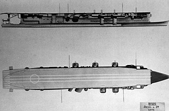 Japanese aircraft carrier Ryūjō - Starboard and overhead diagrams of Ryūjō