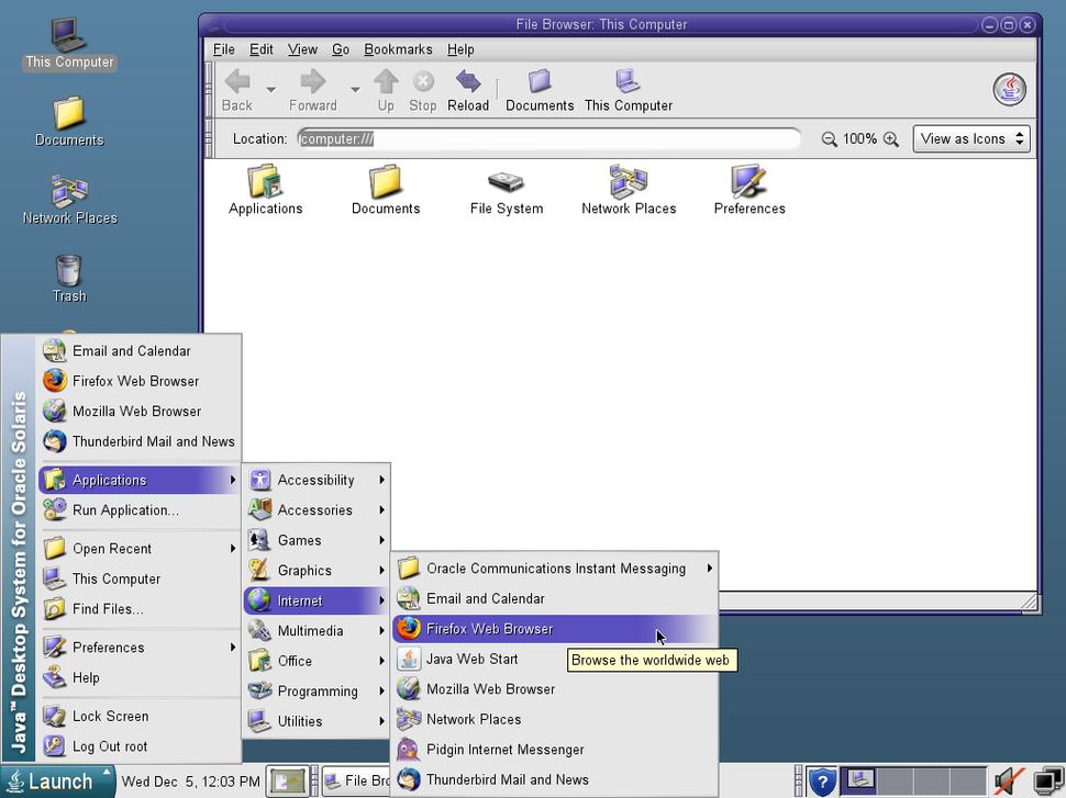 Java Desktop running on Solaris 10