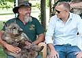 Jean-Paul Adam, Minister for Foreign Affairs, Seychelles with a wombat from Caversham Wildlife Park.jpg