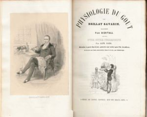"Jean Anthelme Brillat-Savarin - Title page of ""La Physiologie du Goût"" (""The Physiology of Taste"") with a portrait of the author. 1848 edition"