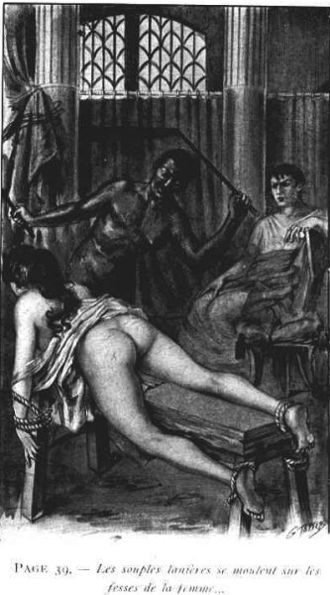 Sadism and masochism in fiction - Georges Topfer illustration on a Jean de Virgans book representing a flogging in Ancient Rome.