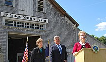 Jeanne Shaheen with U.S. Agriculture Secretary Tom Vilsack and New Hampshire Agriculture Commissioner Lorraine Merrill announcing a grant that helps local farms turn commodities into value-added products.