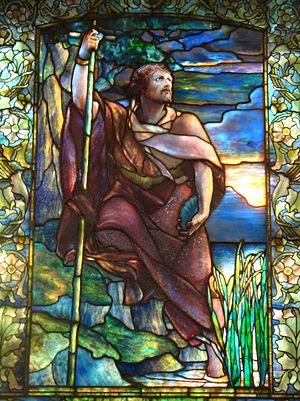 Arlington Street Church - Detail of stained glass window created by Louis Comfort Tiffany depicting John the Baptist