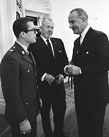 John Steinbeck at 19 (left) with father John (center) visiting President Johnson in the Oval Office, May 16, 1966.