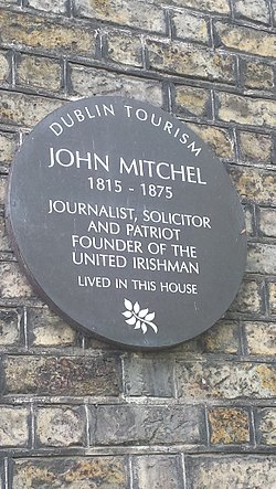 Photo of John Mitchel brown plaque
