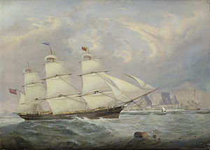 John Scott - A British three-masted merchantman in two positions in Table Bay as she runs into Cape Town.jpg
