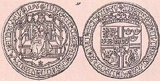 John, King of Denmark - Noble minted for John. The reverse shows his full royal coat of arms.