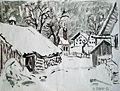 Josef Fottner - Oberbayern, verschneite Dorflandschaft 1954.JPG