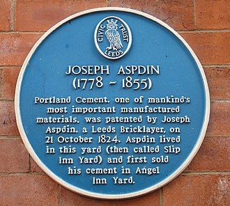 Joseph Aspdin - Plaque commemorating Joseph Aspdin in the yard where he lived