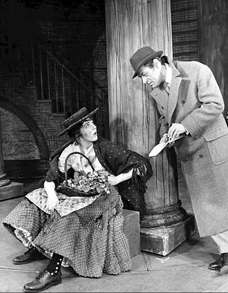 Eliza Doolittle - Julie Andrews as Eliza Doolittle meets Rex Harrison as Professor Henry Higgins in the 1956 musical adaptation of Pygmalion, My Fair Lady