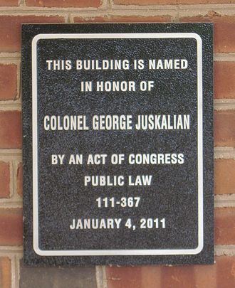 George Juskalian - Plaque outside the front entrance of the Col. George Juskalian Post Office Building
