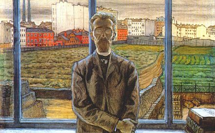 Mstislav Dobuzhinsky, A man with eyeglasses, or The portrait of Konstantin Sunnerberg, 1901-1902, The Tretyakov Gallery, Moscow. K. Sunnerberg by M. Dobuzhinsky.jpg