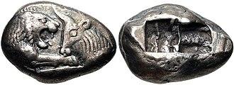 Bimetallism - Silver Croeseid, minted by King Croesus circa 560-546 BCE. (10.59 grams, Sardis mint)