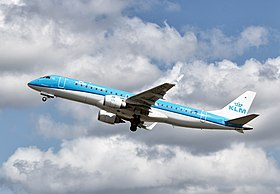 KLM Cityhopper Embraer 190 (PH-EZB) taking off from Schiphol (AMS).jpg