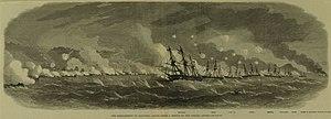 HMS Euryalus (1853) - Euryalus leading the line of battle during the Bombardment of Kagoshima, 1863.