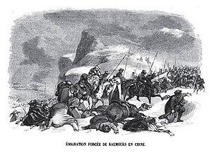 Kalmyk Khanate - Kalmyk exodus to China. Engraving by Charles Michel Geoffroy, 1845.