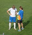 Katie Schoepfer talking pre game with head coach Lisa Cole, WPSL elite 2012.jpg