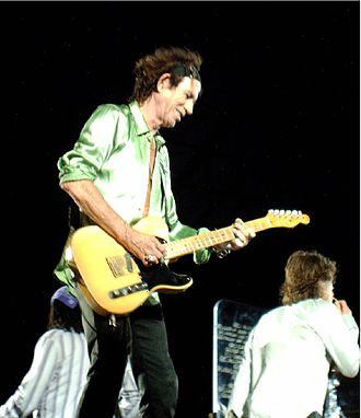 Open G tuning - The Rolling Stones's Keith Richards plays a five-string 1953 Telecaster in open-G tuning. Keith Richards and Ted Newman Jones developed the first 5 string open G electric later manufactured by Newman Guitars. String set is:  11, 15, 18 plain, 30, 42.
