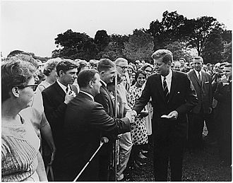 Peace Corps - John F. Kennedy greets volunteers on August 28, 1961