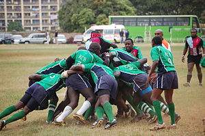 Rugby union in Kenya -  A maul during a Kenya Cup match between KCB and Kenya Harlequins