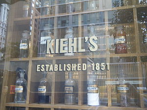 Kiehl's - Vintage druggist relics displayed in the storefront window of Kiehl's original pharmacy