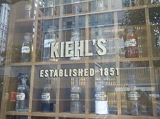 Kiehl's - Vintage druggist relics displayed in the storefront window of Kiehl's original pharmacy