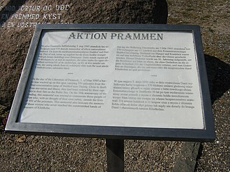Rescue of Stutthof victims in Denmark - Board next to memorial