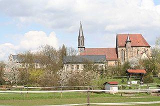 Sonnefeld Abbey church building in Bavaria, Germany