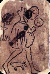 Fante di denari del mazzo «Italia 2», 1390-1410.