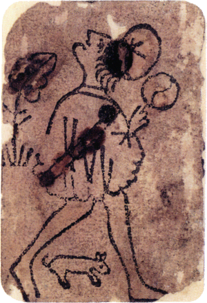 Jack (playing card) - Knave of coins from the oldest known European deck (c.1390–1410).